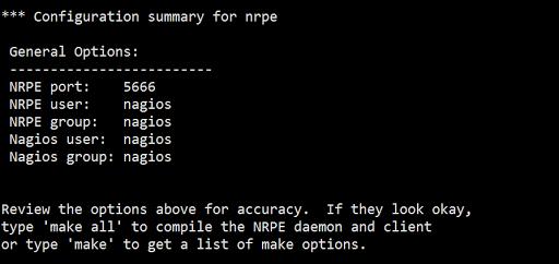 NRPE Configuration Summary