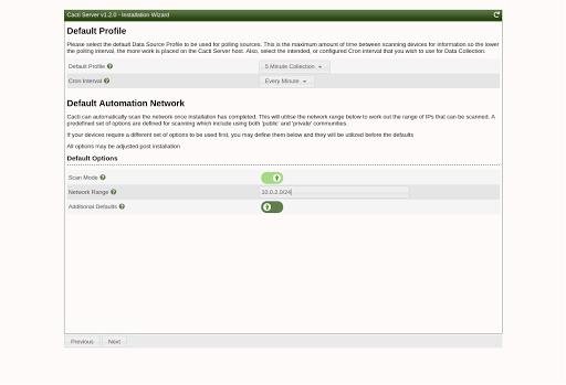 Cacti Profile & Network setup